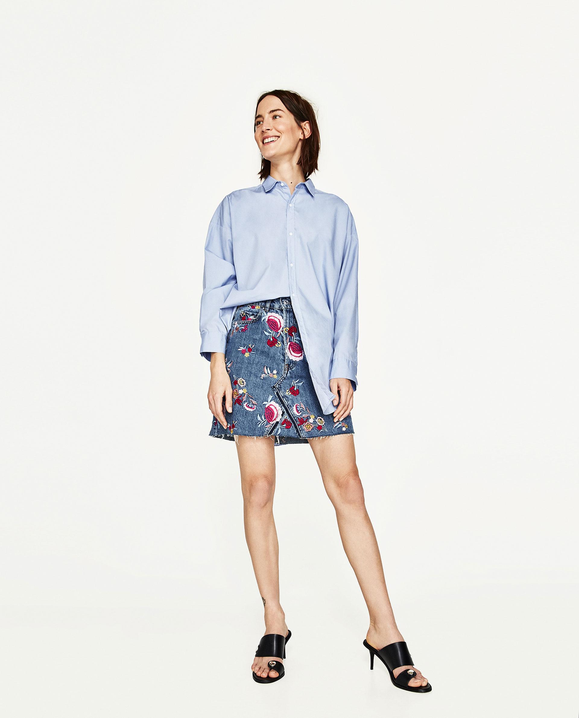 Zara premium collection embroidered floral denim skirt in