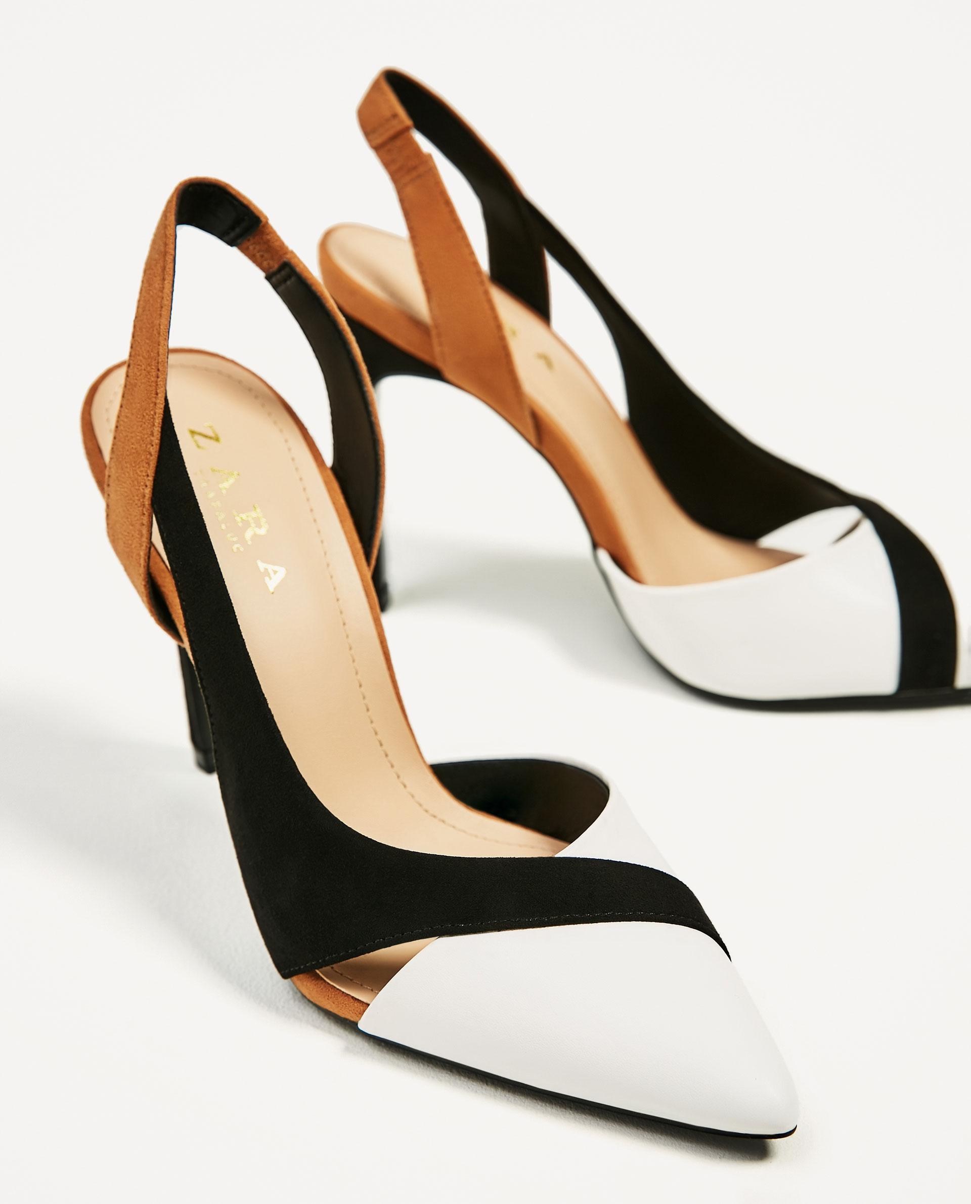 zara contrast high heel shoes lyst