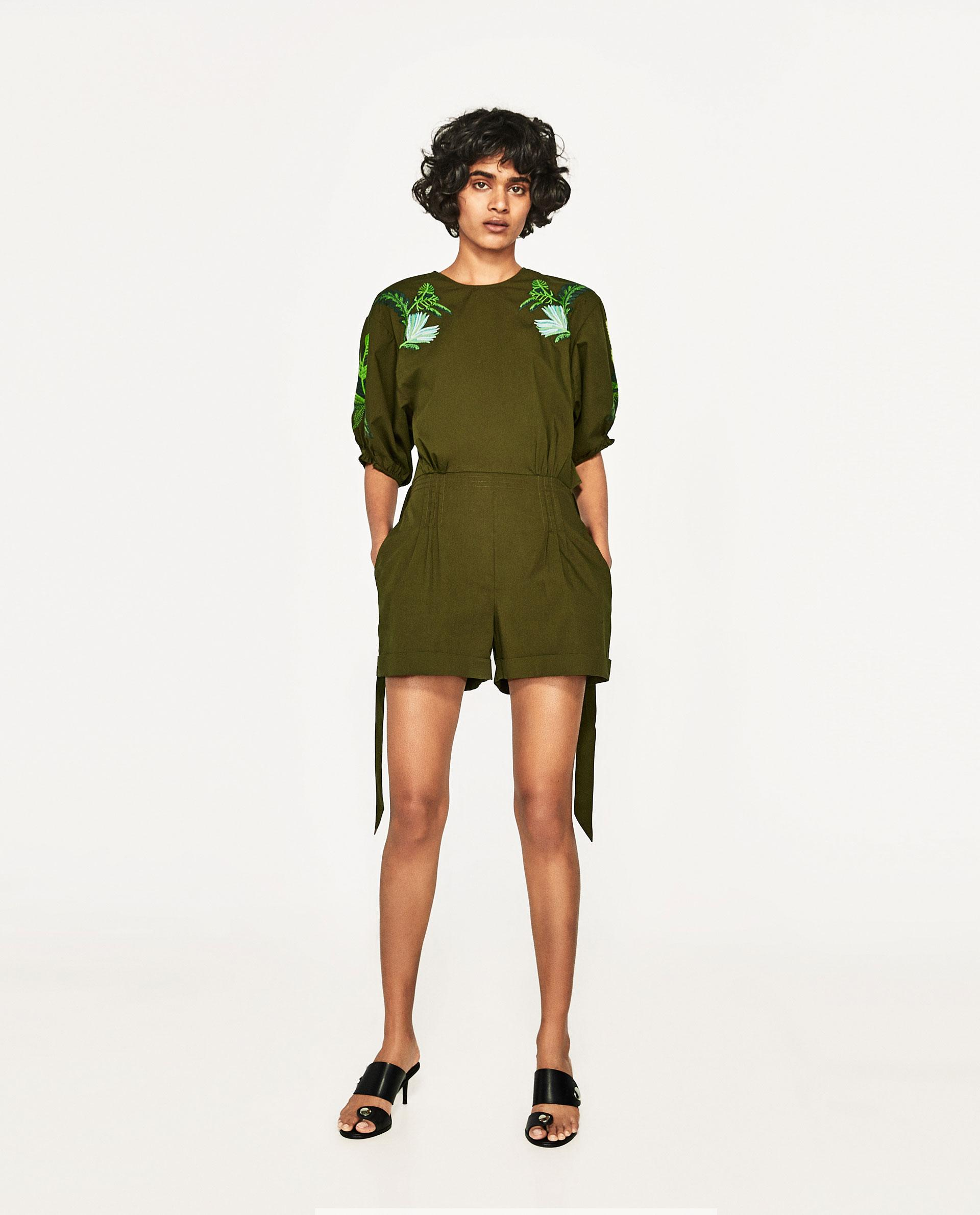 Zara Short Jumpsuit With Embroidered Sleeves In Green  Lyst