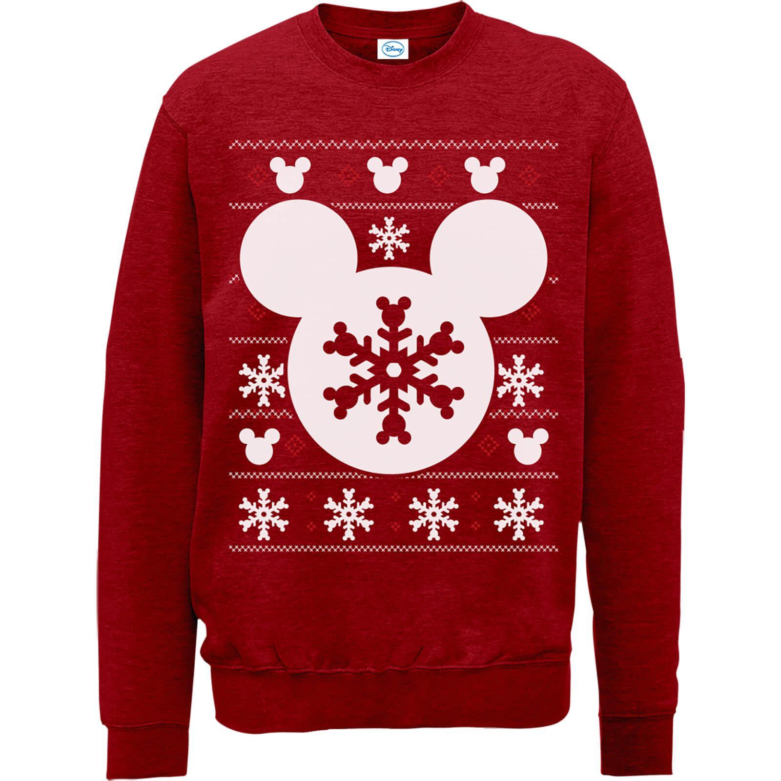 disney womens mickey mouse christmas snowflake silhouette red christmas sweatshirt