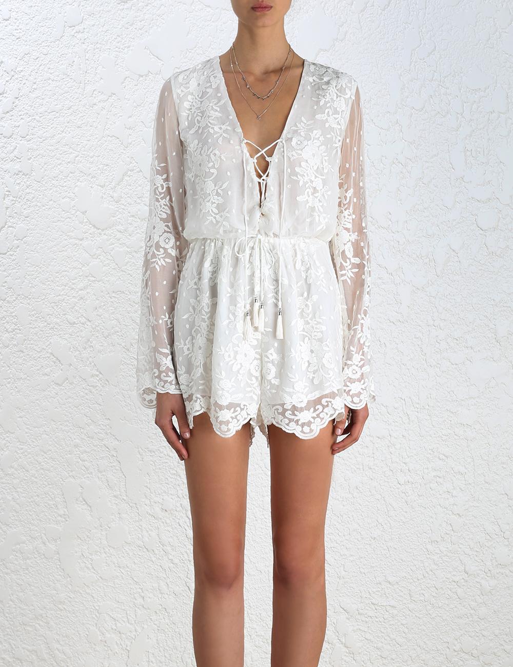 da2257bad36 Lyst - Zimmermann Roza Silk Veil Playsuit in White